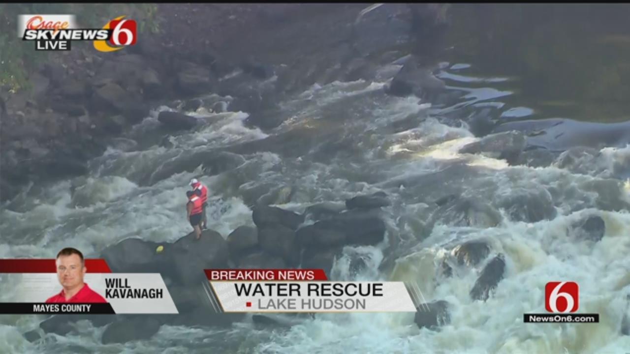Rushing Water Traps Two People In Spillway Below Lake Hudson