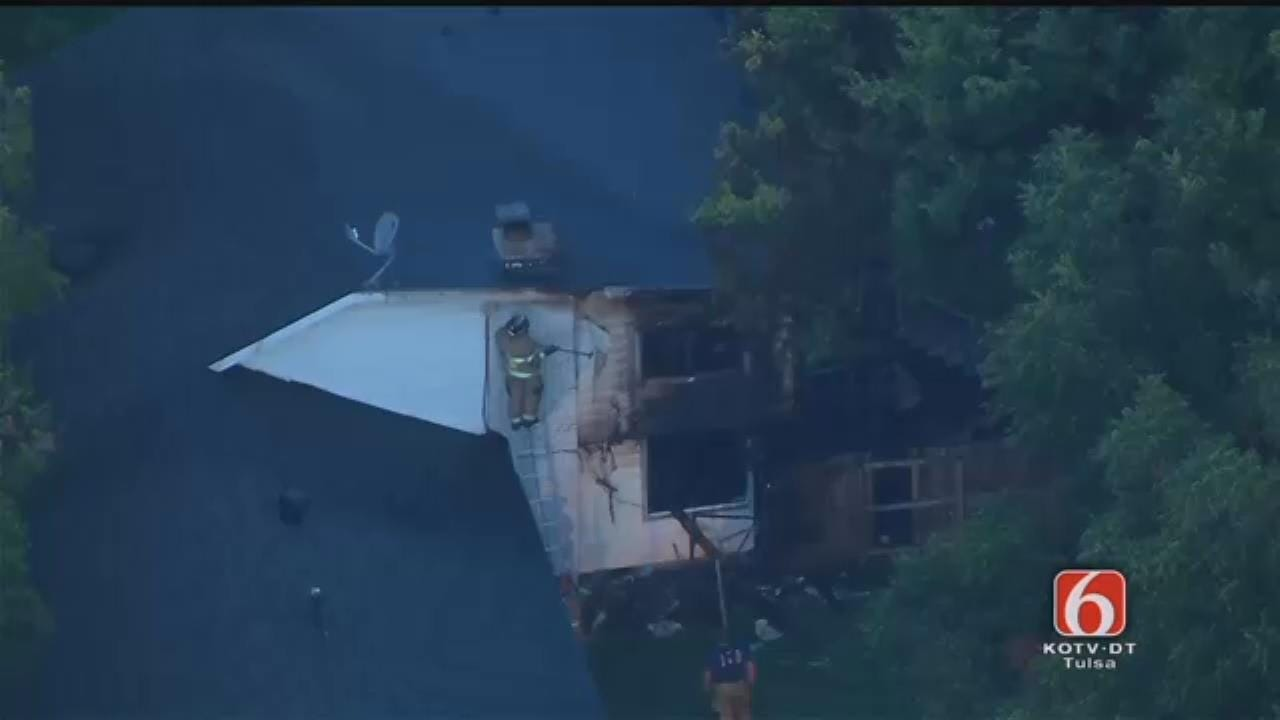 Osage SkyNews 6 Flies Over Tulsa House Fire Rekindle