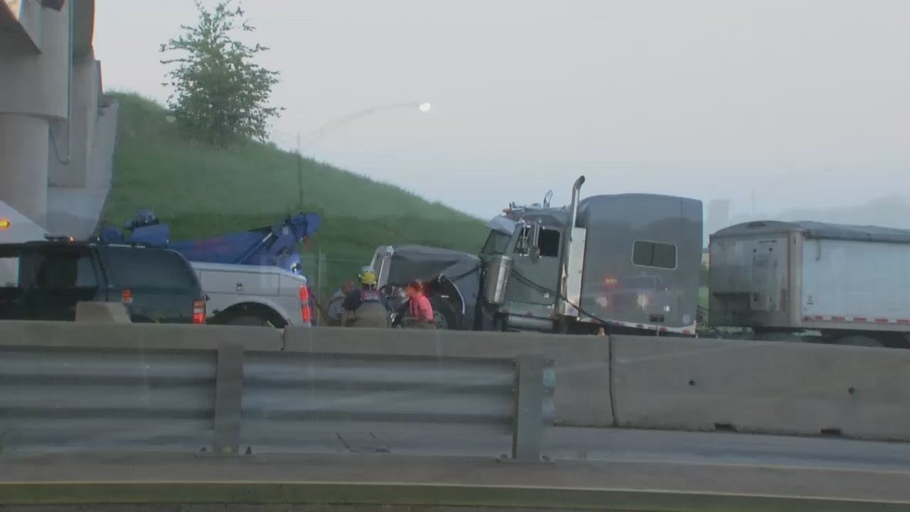 WEB EXTRA: Video From Scene Of Cimarron Turnpike Toll Gate Crash
