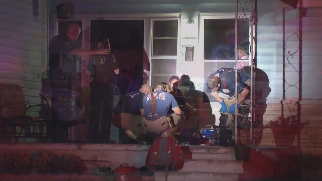 WEB EXTRA: Video From Double Stabbing At A Tulsa Home