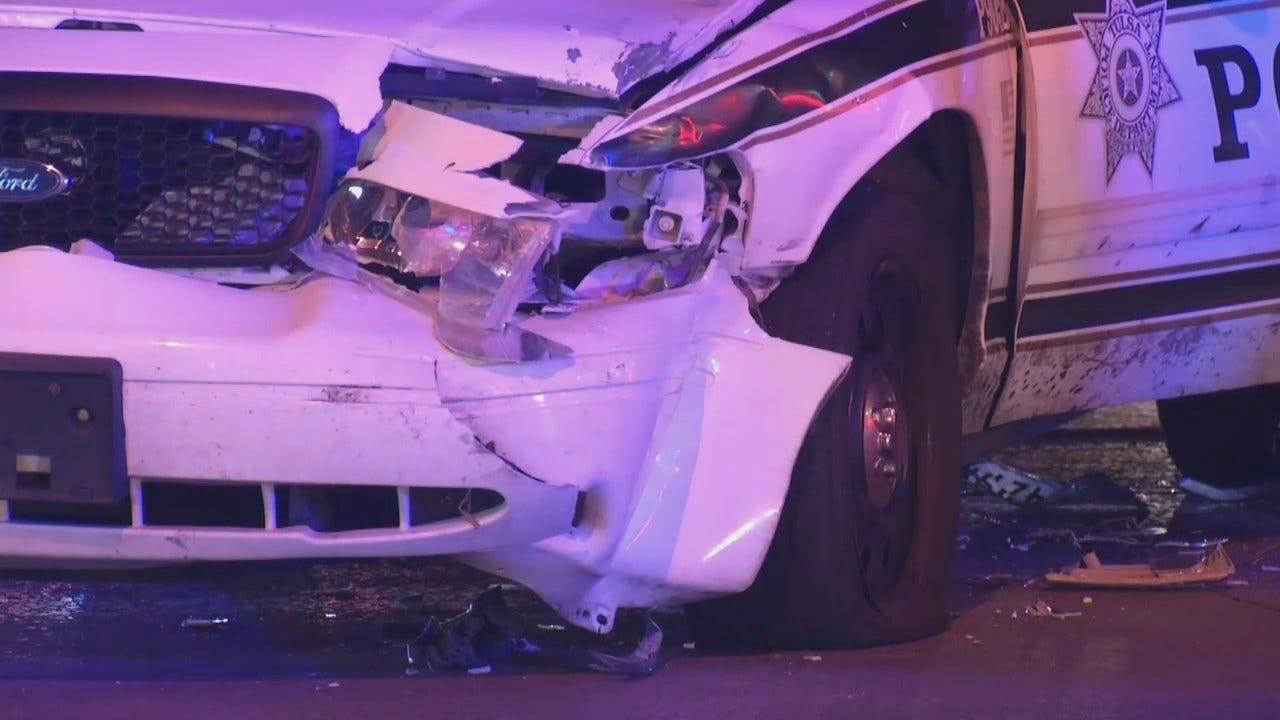 WEB EXTRA: Video From Scene Of Tulsa Police Car Crash