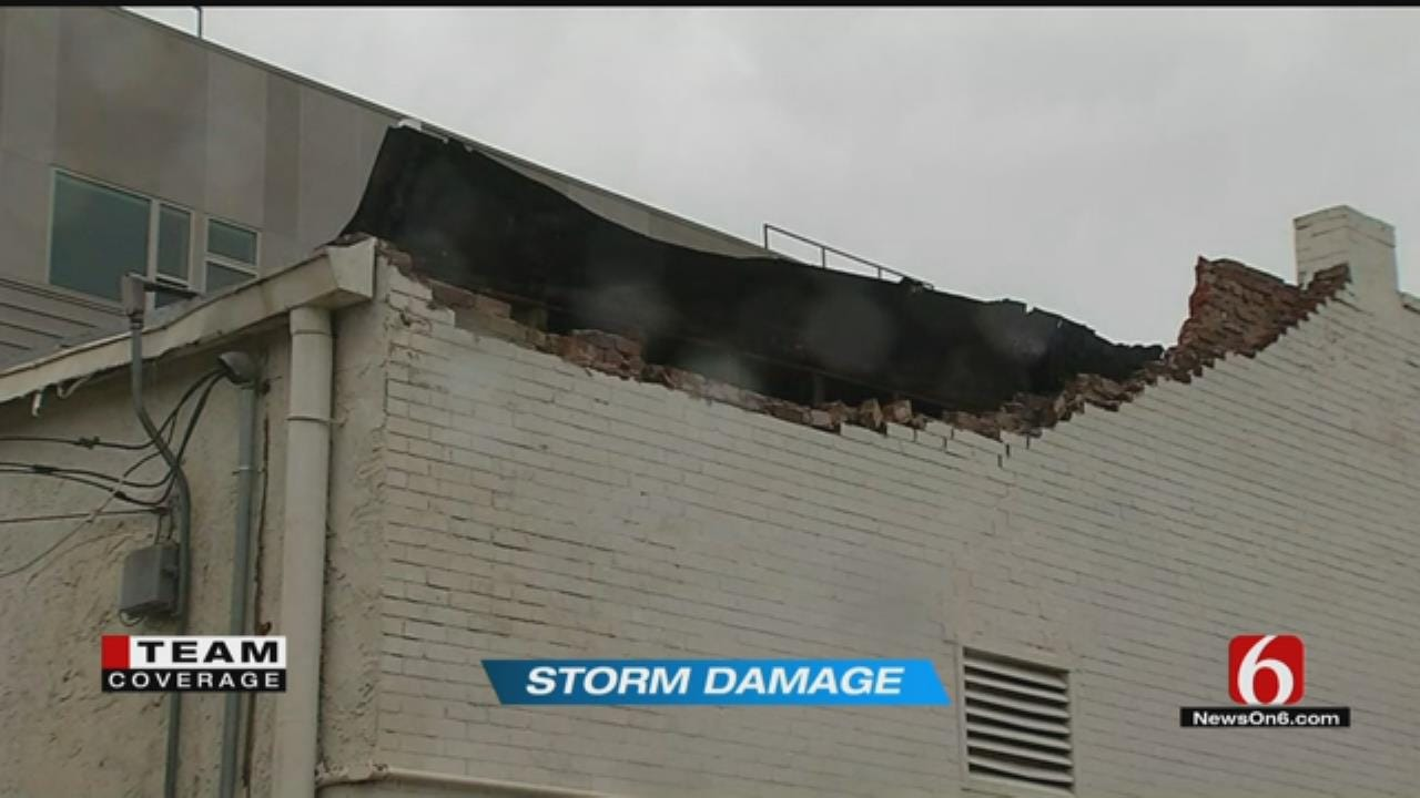 Strong Winds Blow Off Parts Of Brick Roof Of BA Building
