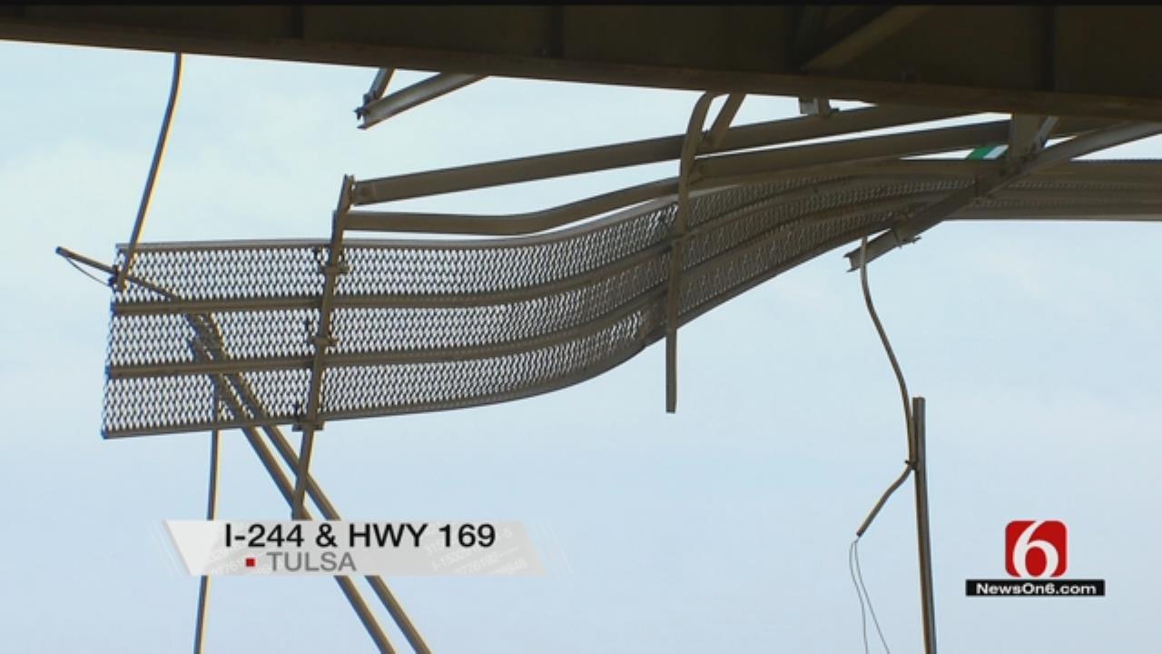 Driver OK After Pickup Plunges Off Tulsa Highway Bridge