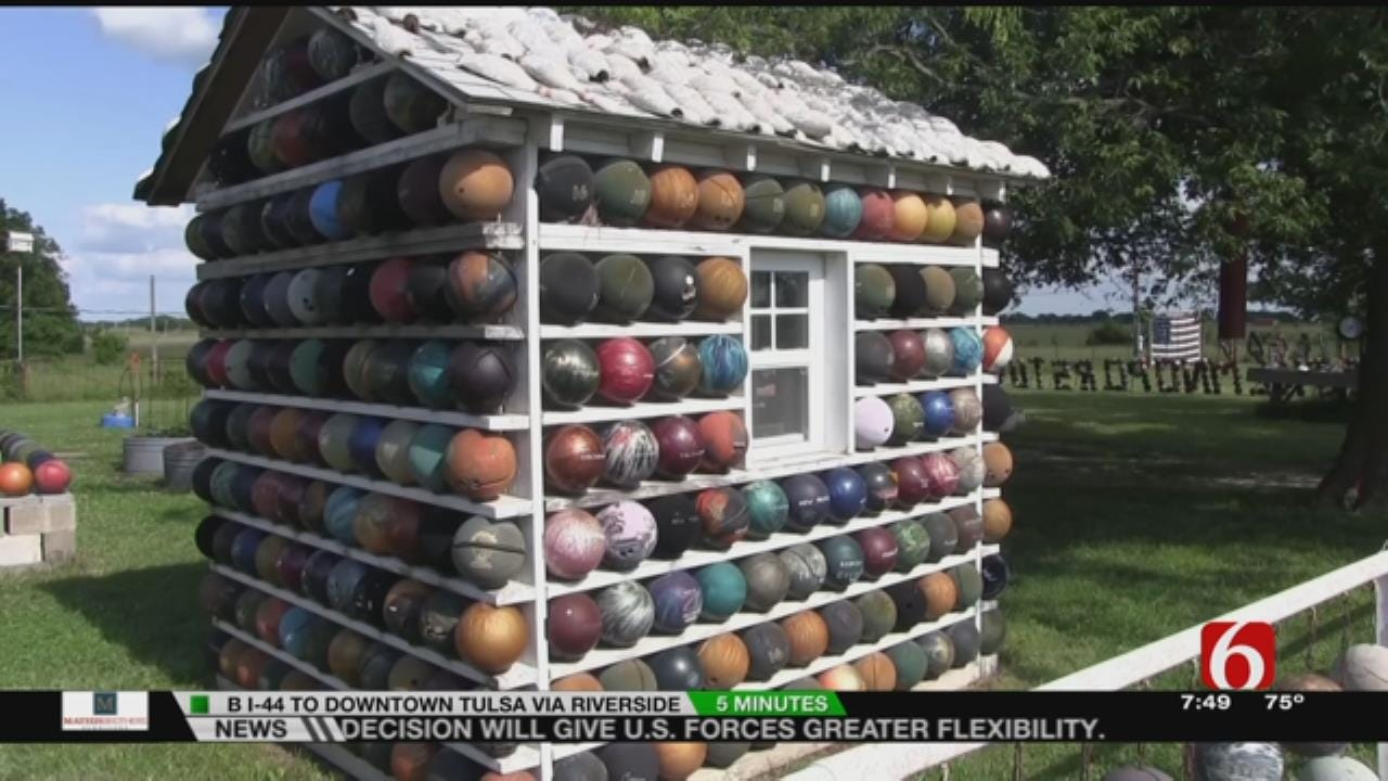 Fly The Coop Blogger Visits Nowata County Man's Bowling Ball Collection