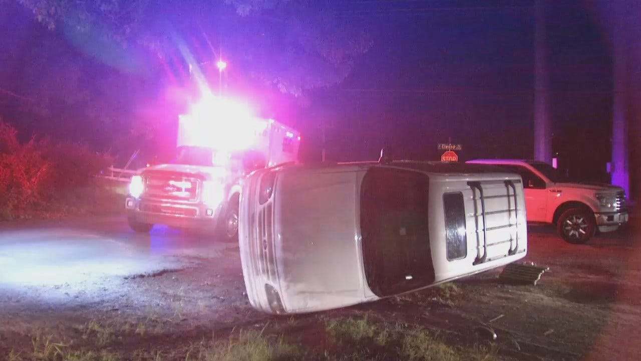WEB EXTRA: Video From Scene Of South Tulsa Rollover Crash