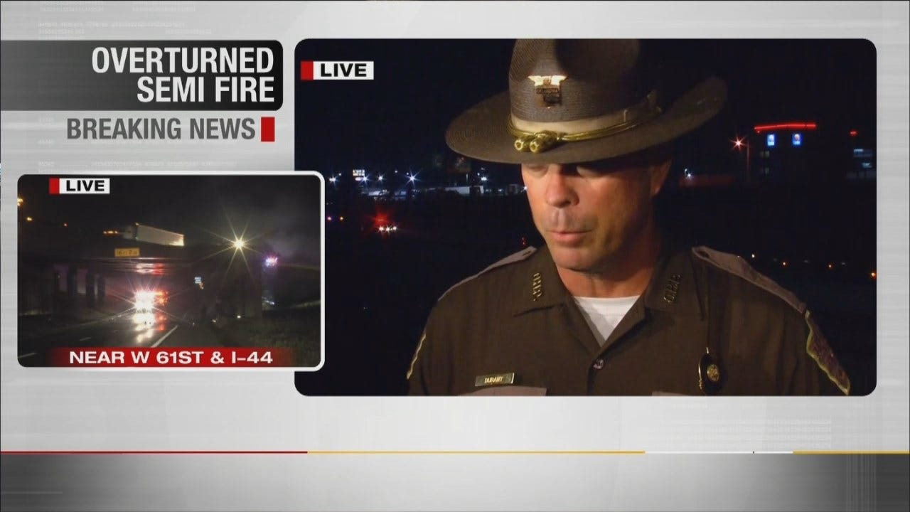 Oklahoma Highway Patrol Talks About Semi Crash, Fire