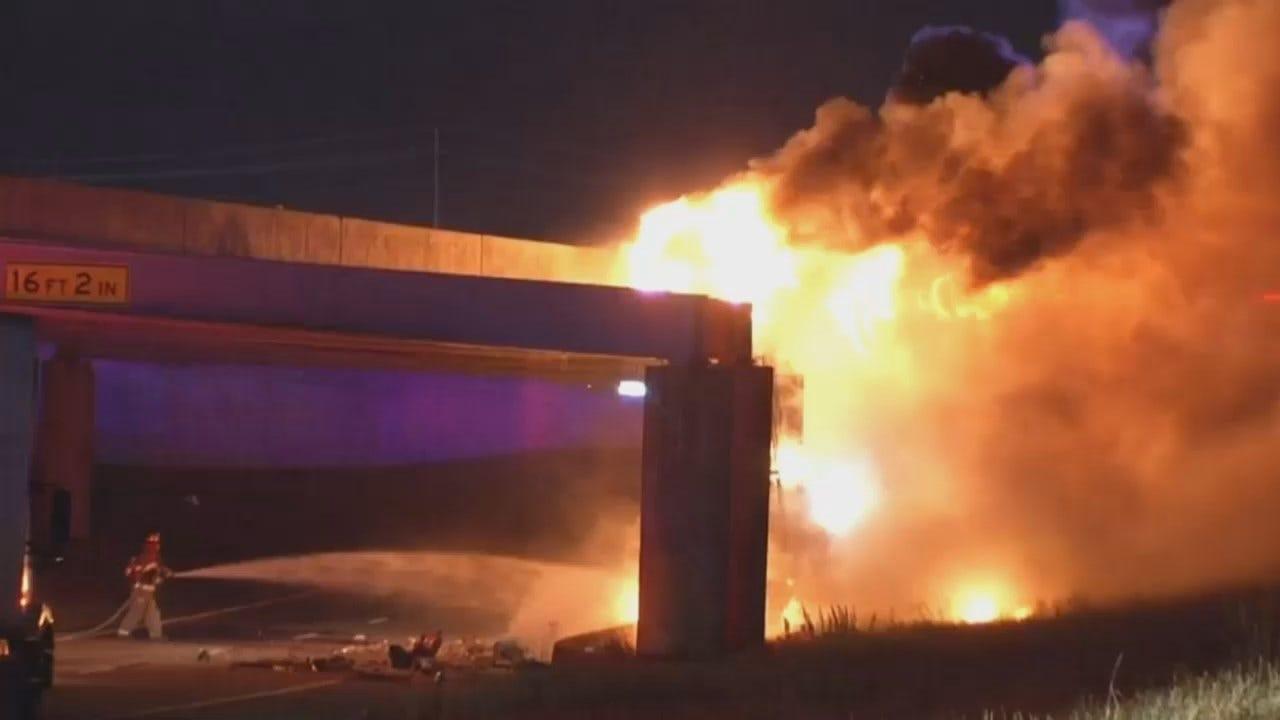 WEB EXTRA: Video Of Semi Fire On Turner Turnpike Near 61st West Avenue