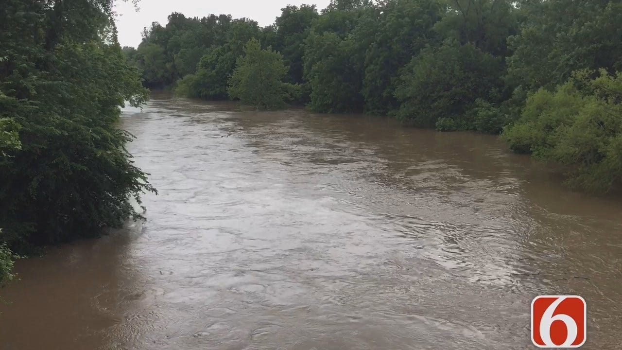 Craig Day On Caney River Hitting Flood Stage Near Collinsville