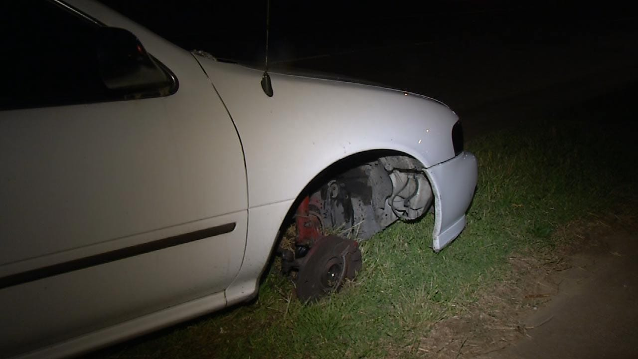 WEB EXTRA: Men Wreck, Ditch Car In Tulsa