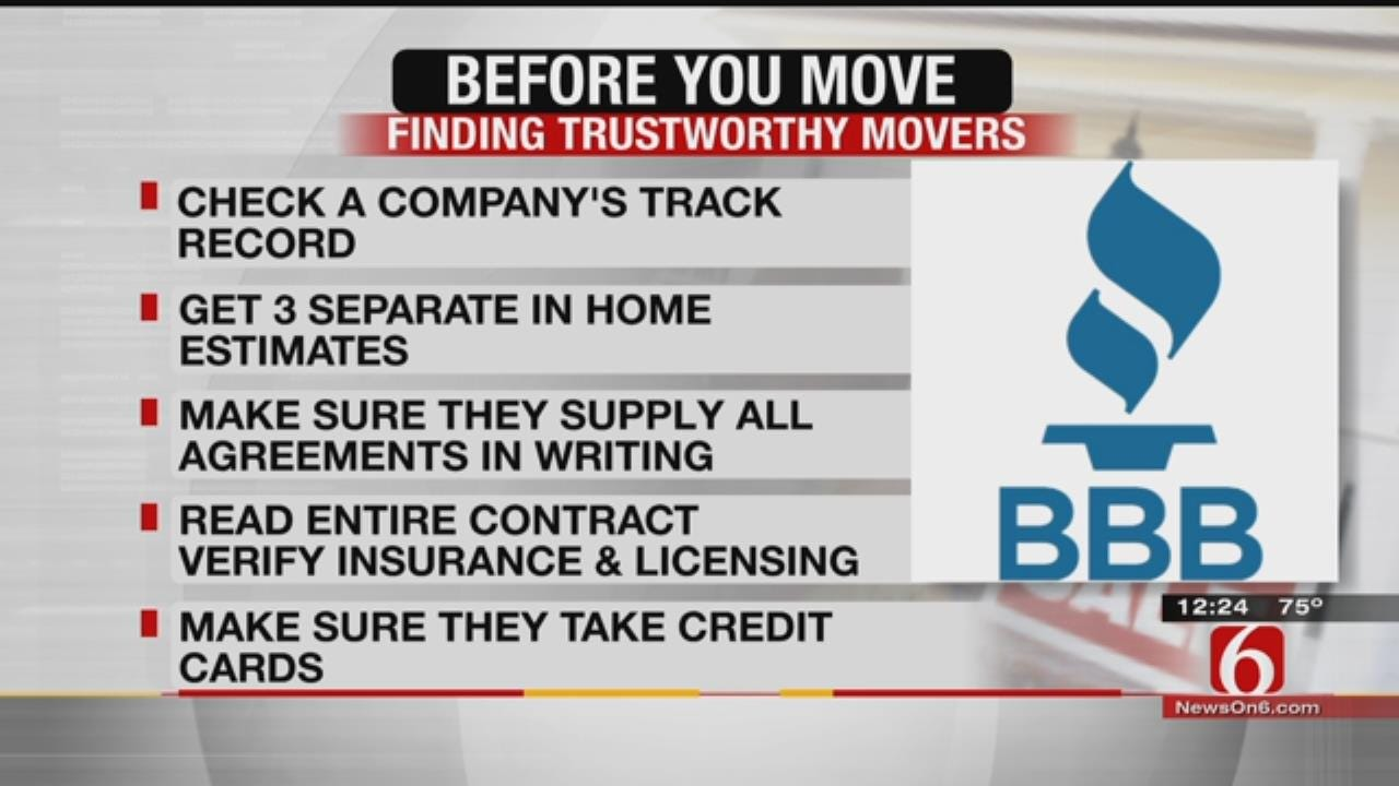 Tulsa BBB Offers Tips On Selecting A Mover