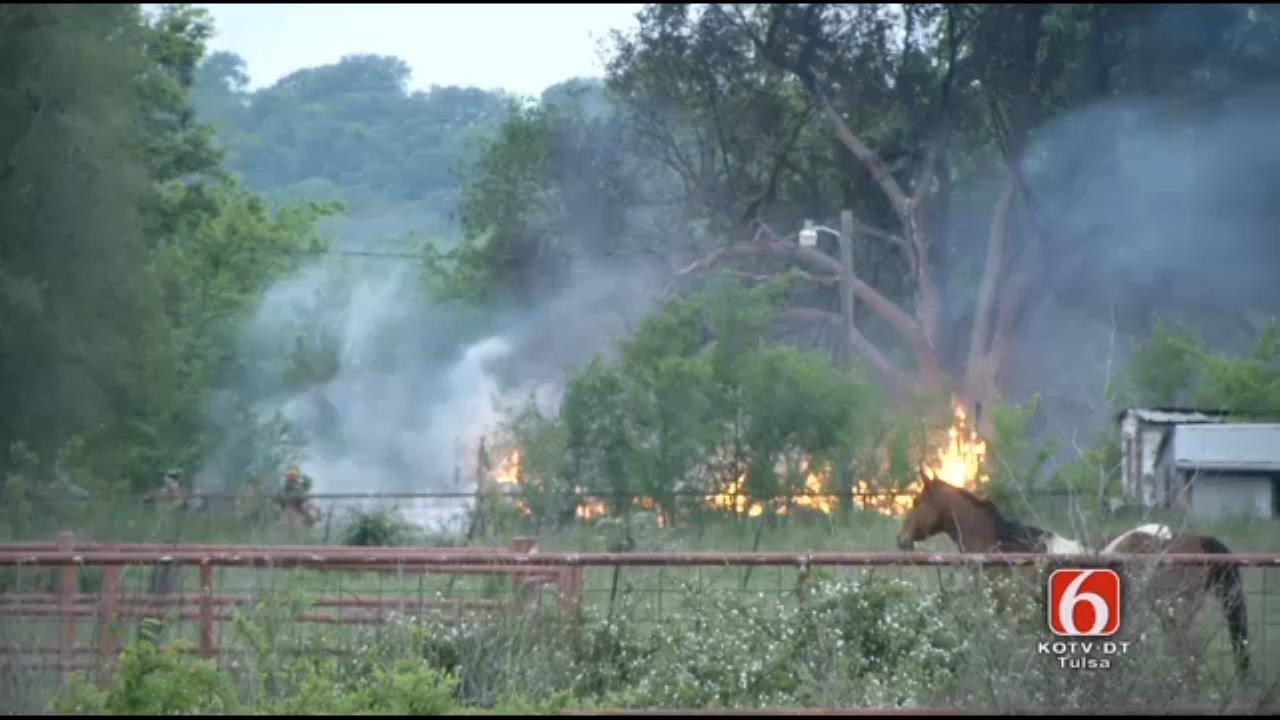 WEB EXTRA: Body Found Outside Bixby-Area House Fire