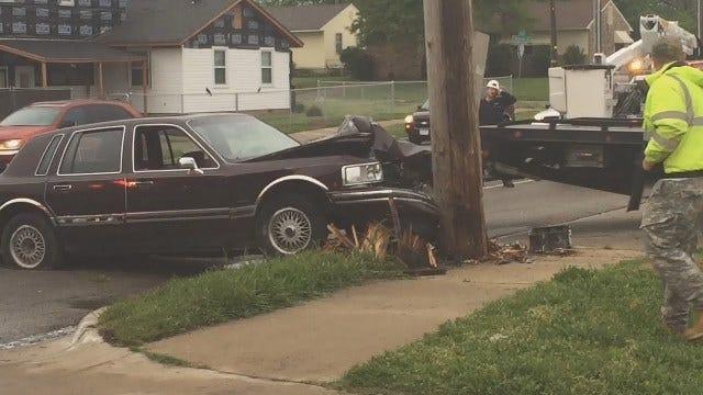 Gary Kruse: Car Smacks Into Pole At Pine & Harvard In Tulsa