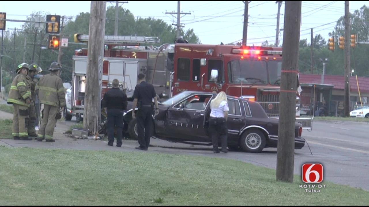 WEB EXTRA: Car Crashes Into Pole At Pine & Harvard In Tulsa