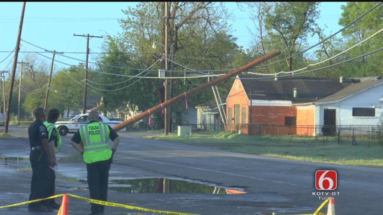 WEB EXTRA: Pole On Power Lines Closes 49th West Avenue Near 3rd Street