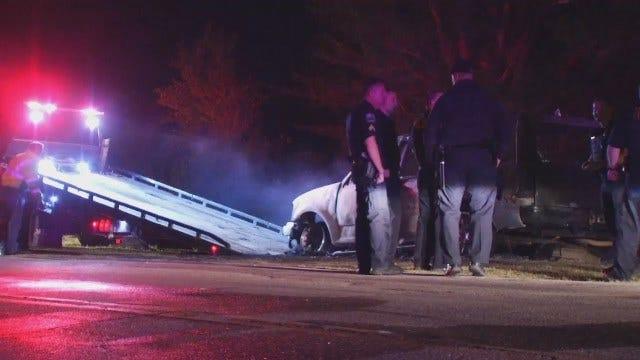 WEB EXTRA: Abandoned SUV Burned On Tulsa Street