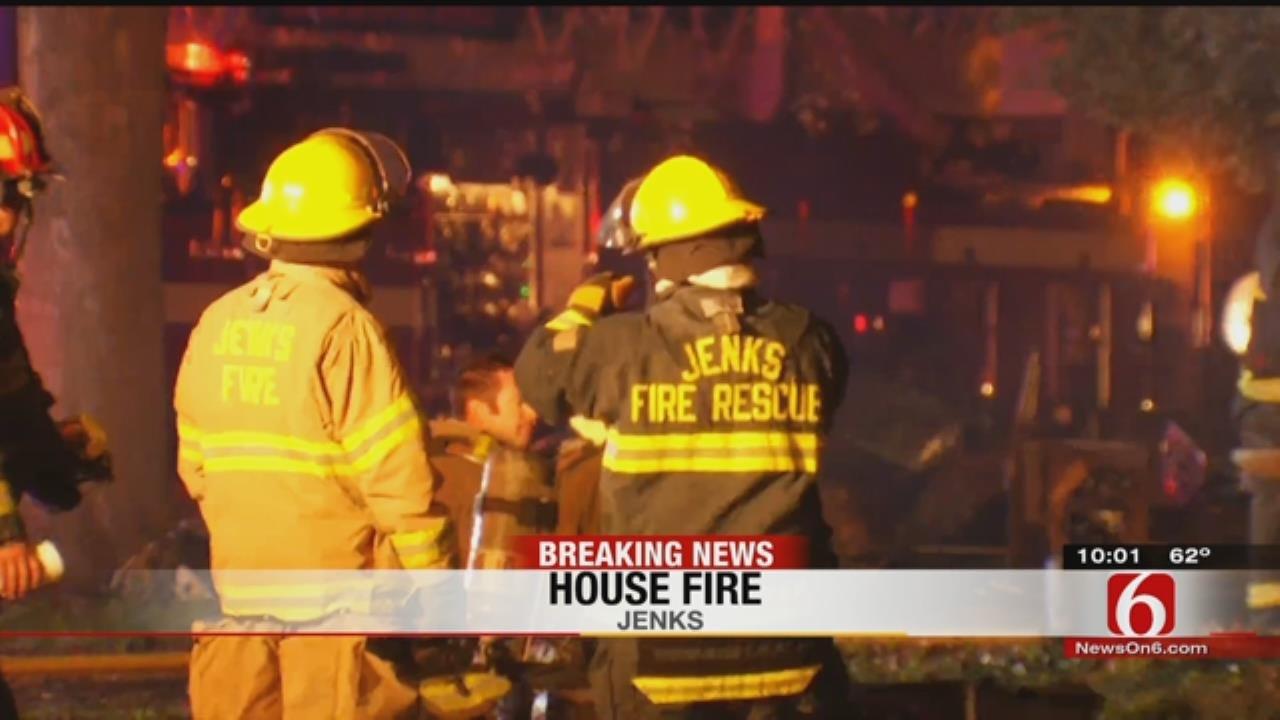 Firefighters Battle Jenks House Fire
