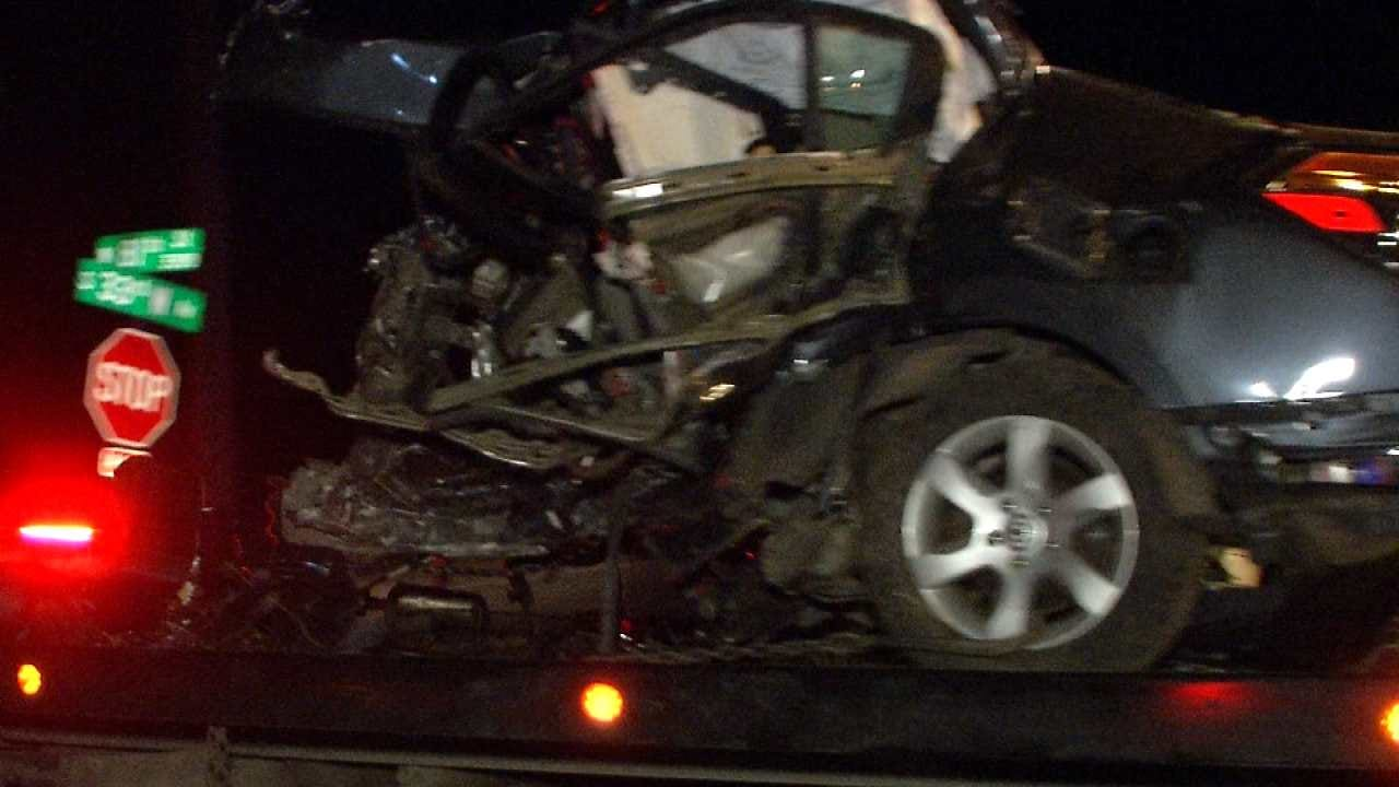 Car Splits In Two, Woman Dies In West Tulsa Crash