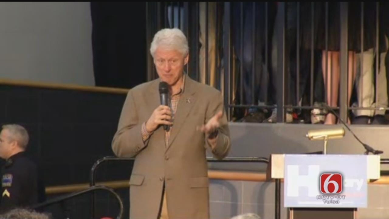 Former President Bill Clinton Speaks At 'Get Out The Vote' Rally At Booker T. Washington High School