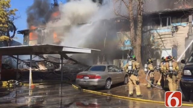 Video From Large Fire At South Tulsa Apartment Complex
