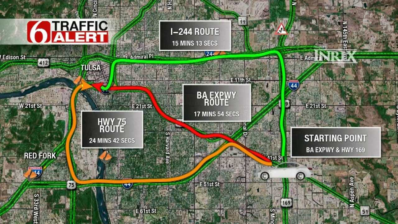 Driving Options For Avoiding BA Expressway Traffic Into Downtown Tulsa