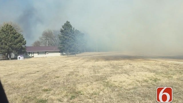 Darren Stephens Reports As Fire Crews Save Okmulgee County House