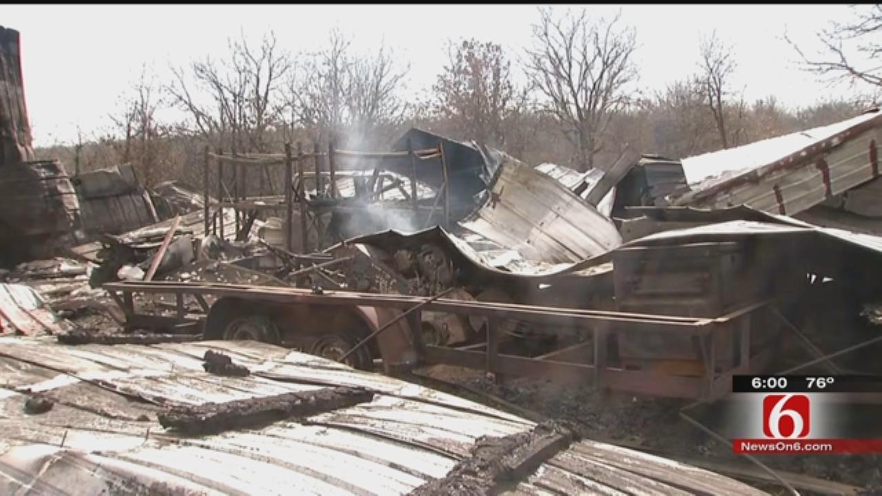 Okmulgee Family Surveys Damage After Wildfire Destroys Shop