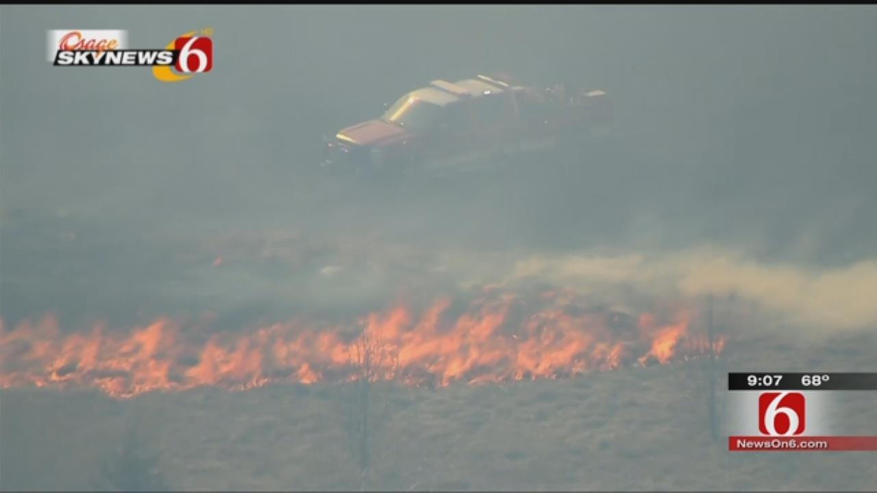 Grass Fires Burn East, West Of Owasso