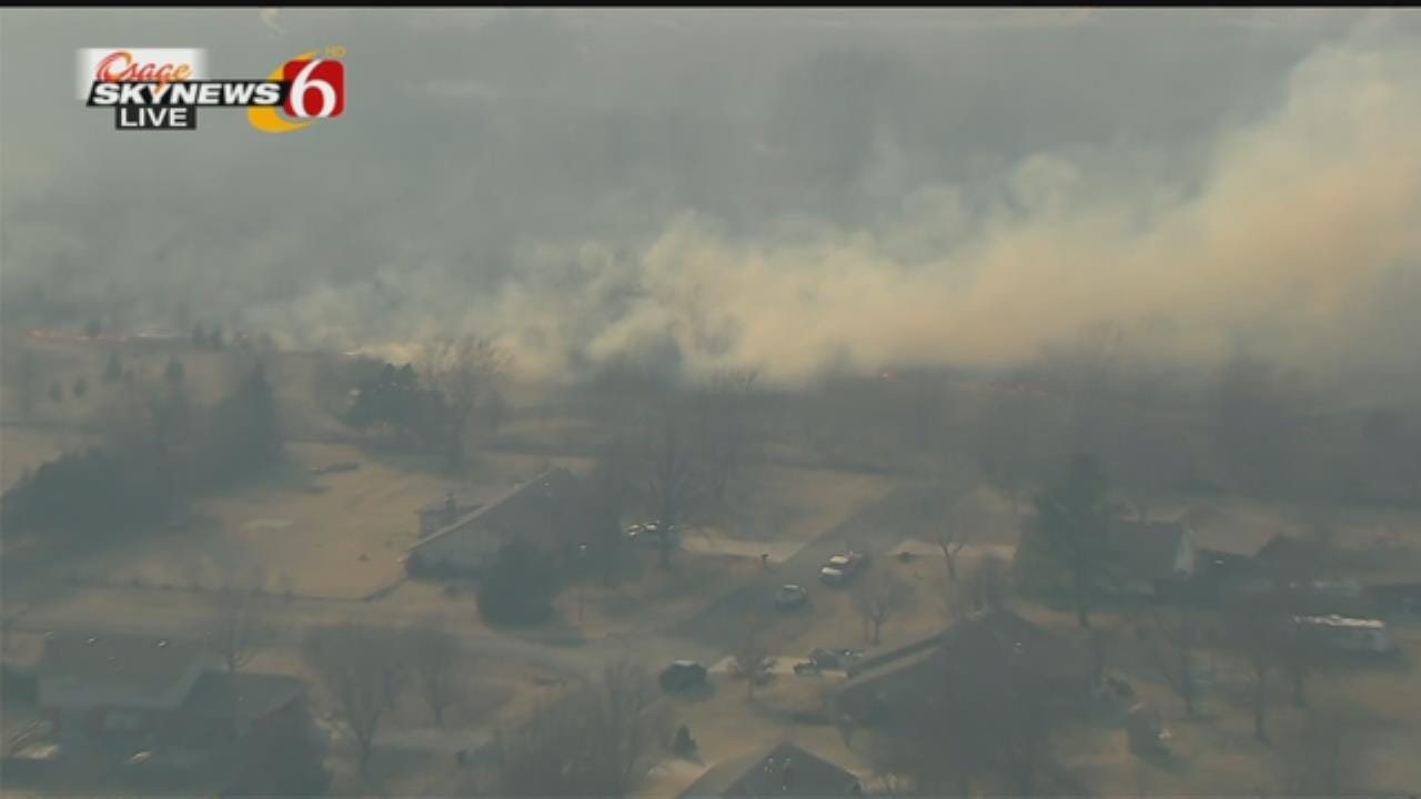 Osage SkyNews 6 HD: Wildfire Threatens Owasso Homes, Structures