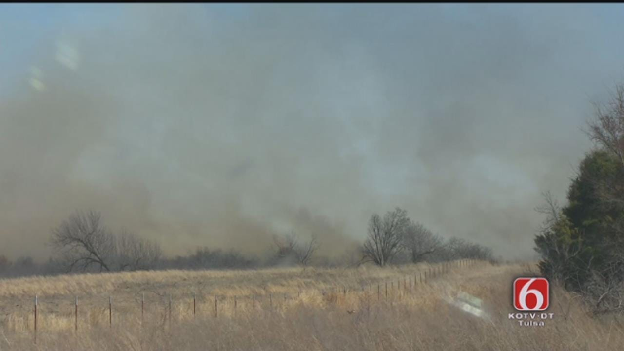 WEB EXTRA: Grass Fire Burns In Muskogee County