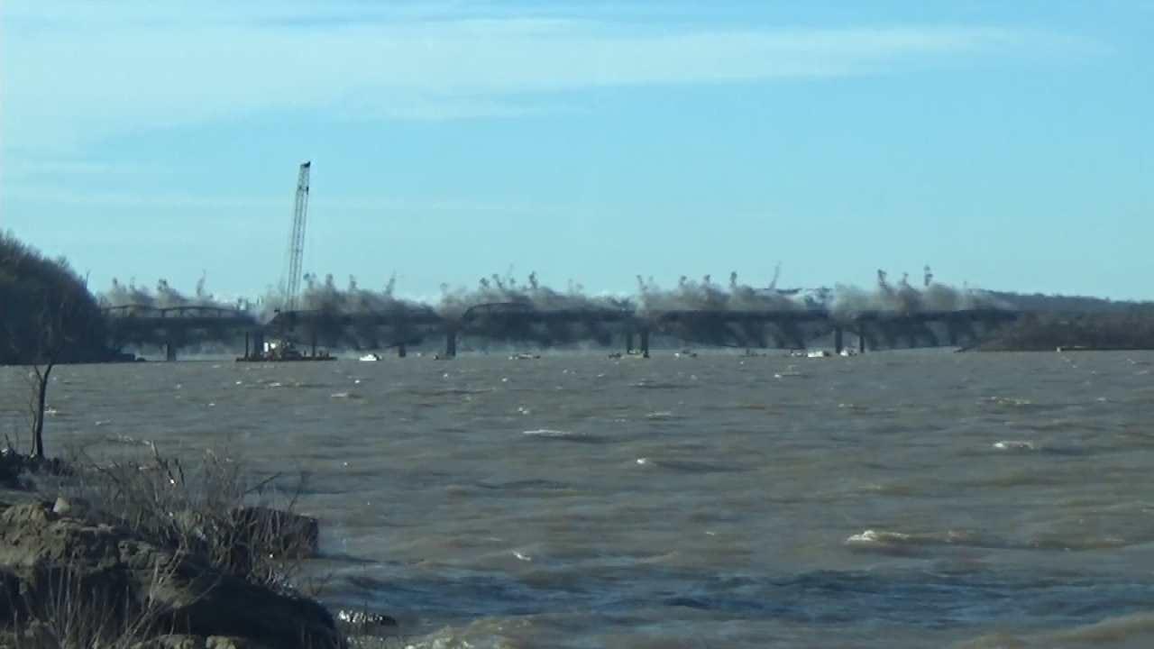 WEB EXTRA: Ground View Of Wagoner County Bridge Implosion