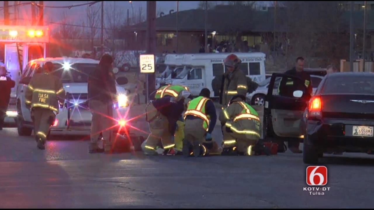 WATCH NOW: Crews Work To Save Person Hit By Car In Downtown Tulsa