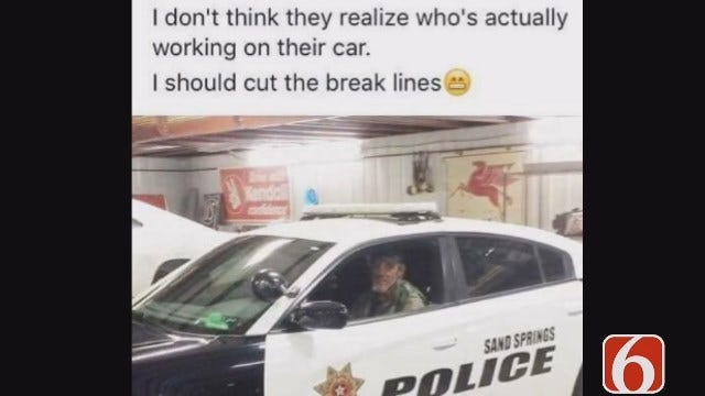 Lori Fullbright Reports: Facebook Post 'Threatens' Sand Springs Police Car