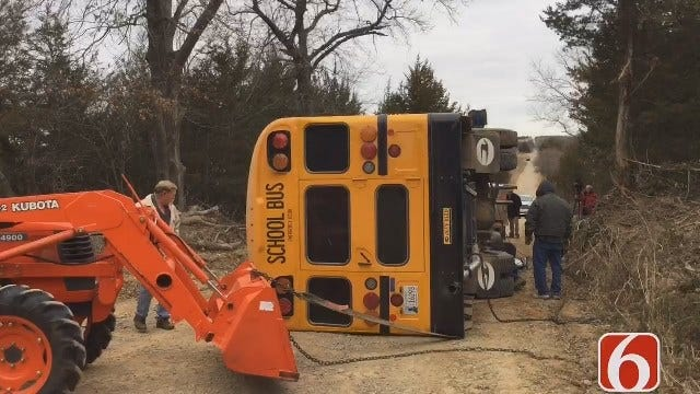 WEB EXTRA: Yale School Bus Overturns With Students On Board