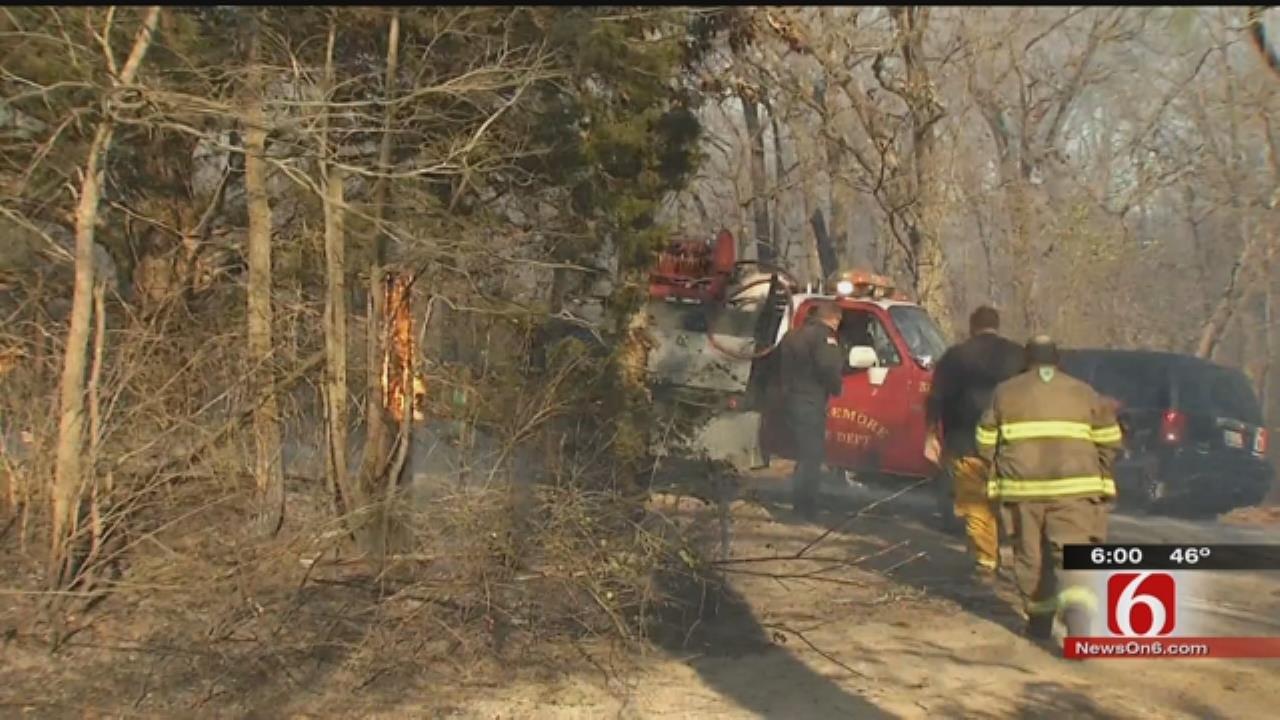 Crews Battle, Contain Fire Near Claremore