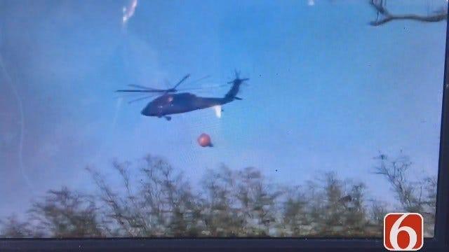 Storm Spotter Darren Stephens Captures Army National Guard Fighting Fire Near Leonard