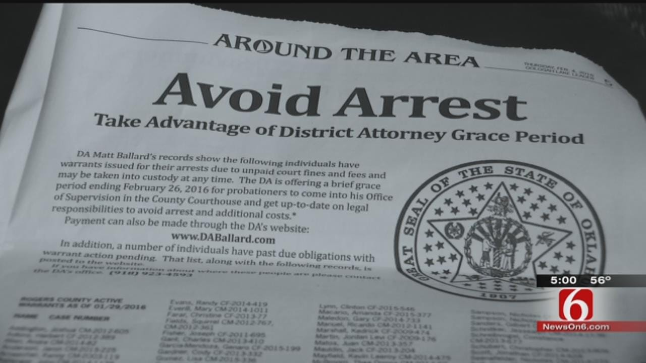 District 12 DA Publishing Ads With Names Of People Who Owe Fines