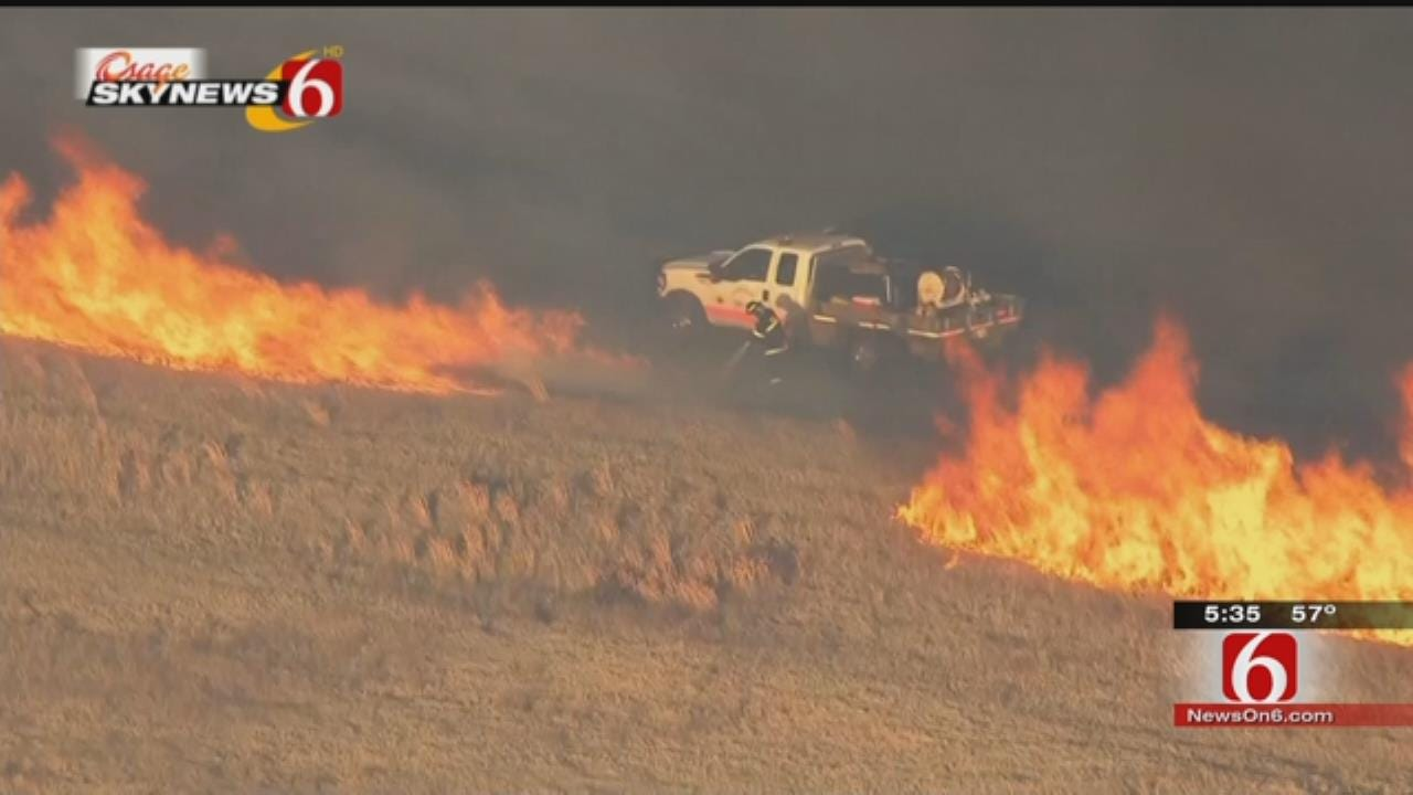 Tulsa Firefighters Stand Their Ground Against Wildfire