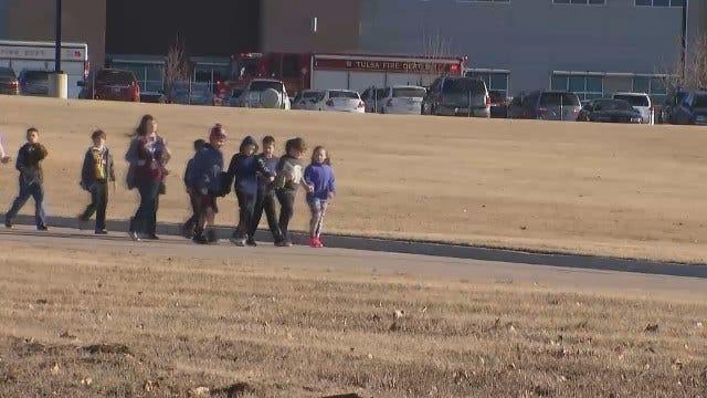 WEB EXTRA: Jenks West Elementary School Evacuated Friday Morning