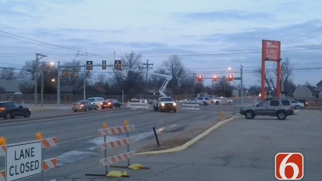 WEB EXTRA: Mingo Water Line Break Snarls Tulsa Rush Hour Traffic