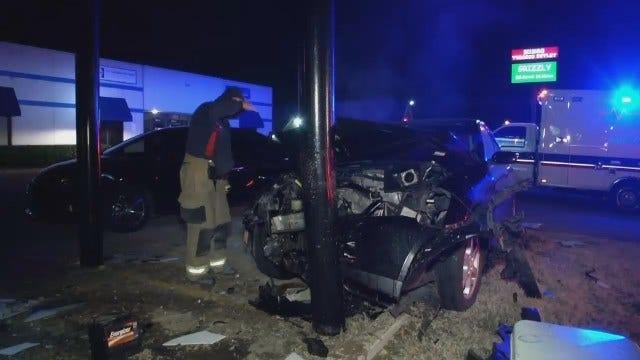 Tulsa Police: Woman Leaves Bar, Crashes Into Pole