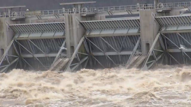 WEB EXTRA: Video Of Water Being Released From Robert S. Kerr Reservoir Dam