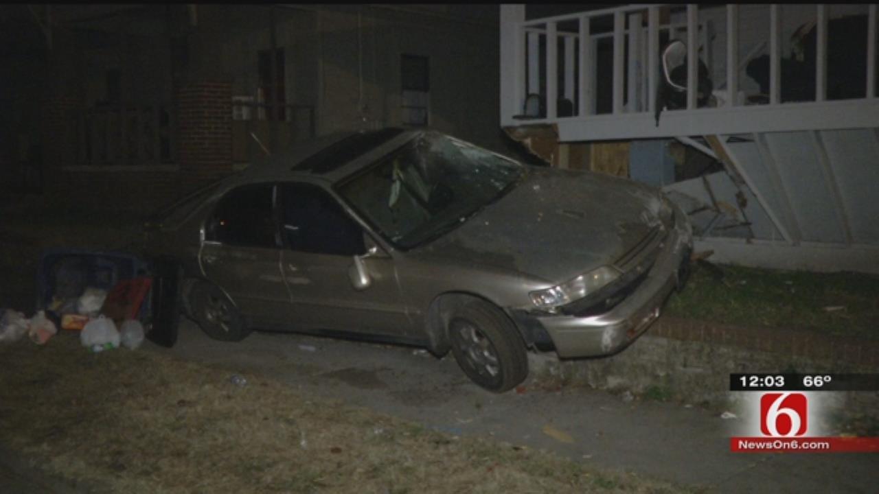 Car Crashes Into Tulsa Home, Driver Runs Off