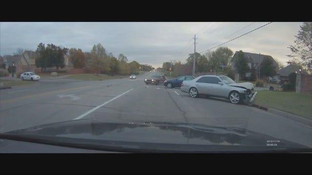 WEB EXTRA: Dashcam Captures 3-Vehicle Wreck In Broken Arrow