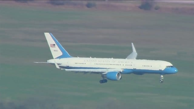 WEB EXTRA: Air Force Two Lands In Tulsa