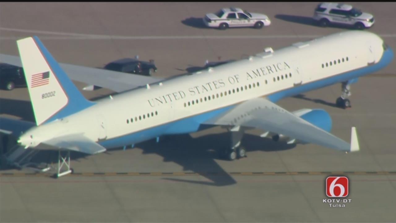 WEB EXTRA: Air Force Two, Motorcade At Tulsa Airport