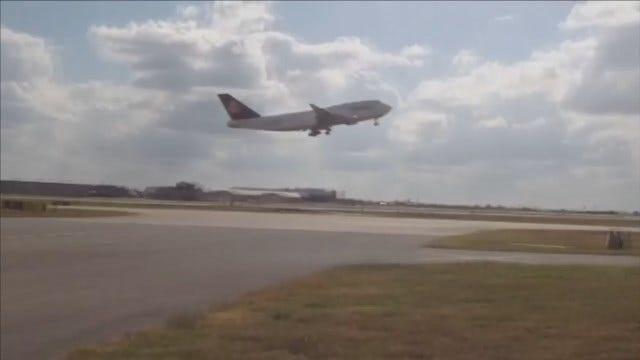 WEB EXTRA: Lufthansa Boeing 747 Makes Final Flight, Lands In Tulsa