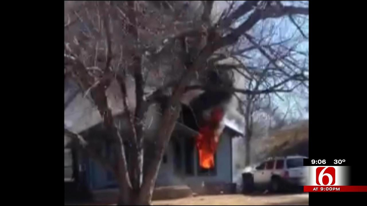 WEB EXTRA: West Tulsa House Fire Caught On Video