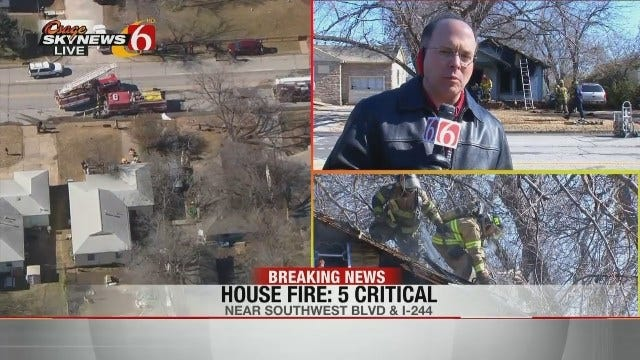Firefighters Pull 2 Adults, 3 Children From Burning West Tulsa House