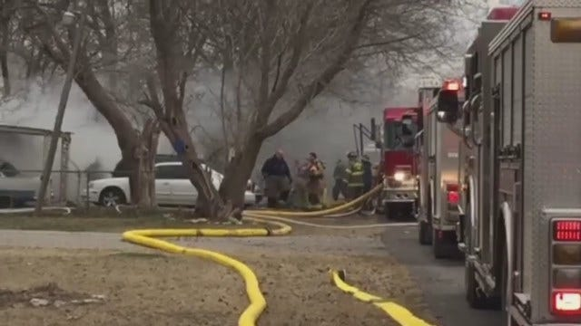 WEB EXTRA: Firefighters Pull Victim from Burning Catoosa House