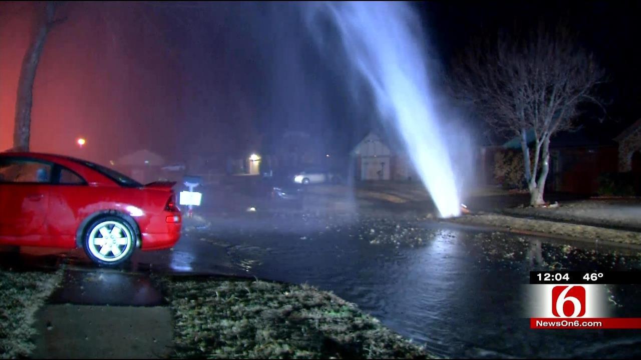 Geyser Caused By Broken Water Line Damages Tulsa Home